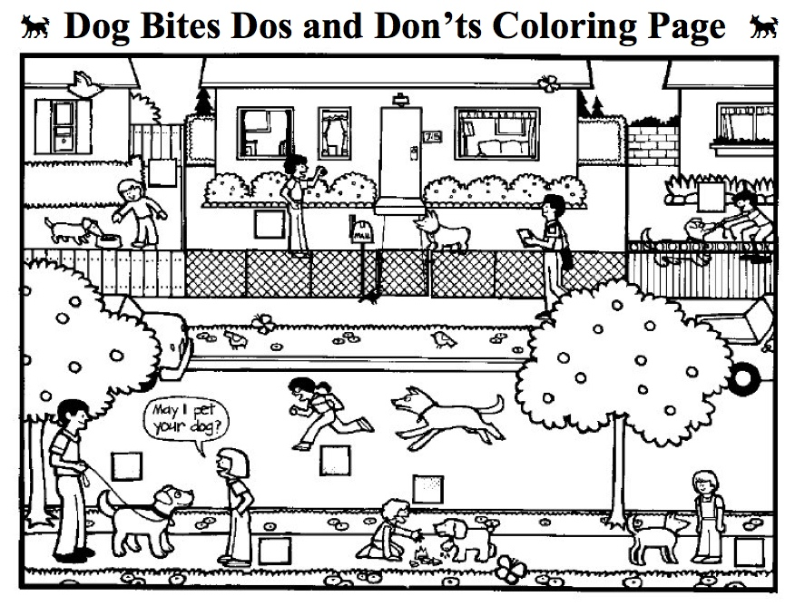 BiteColorPage Dog Bite Dos And Donts Coloring Page
